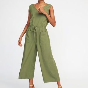 Old Navy Sleeveless Utility Jumpsuit Olive Green